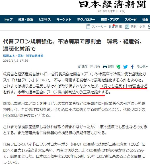 フロン規制強化 日経記事