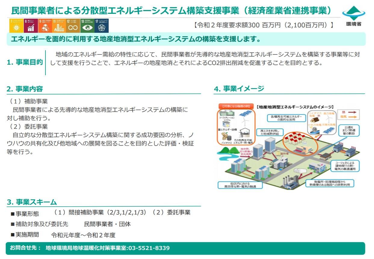 民間事業者による分散型エネルギーシステム構築支援事業(経済産業省連携事業)