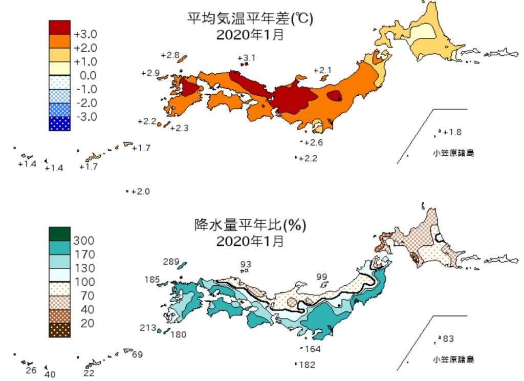 2020年1月の気温と降水量