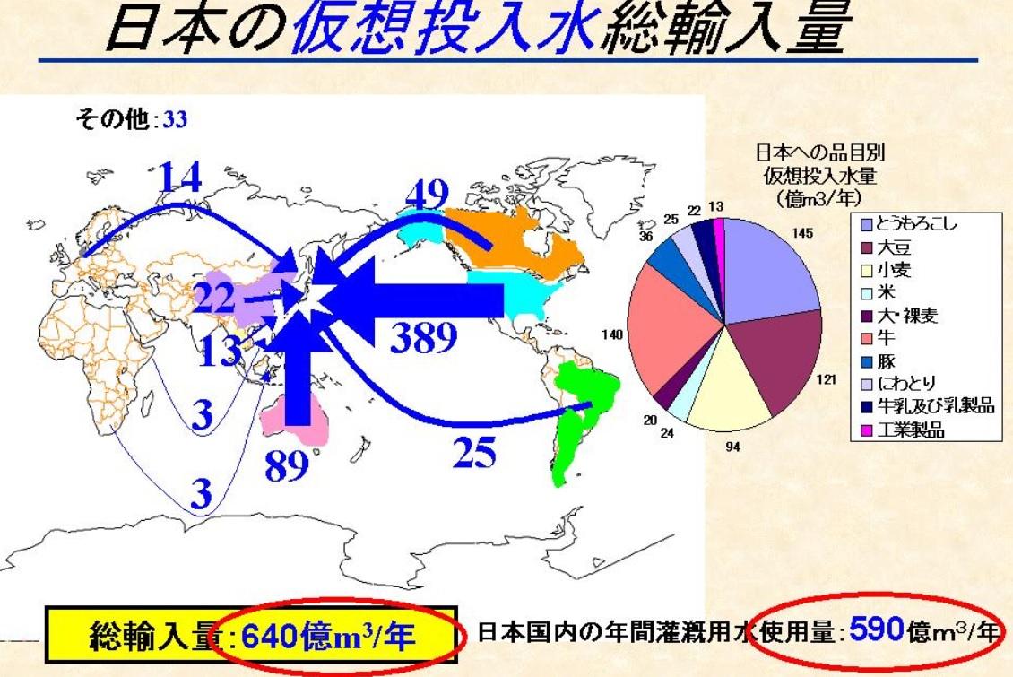 日本への品目別仮想投入水量